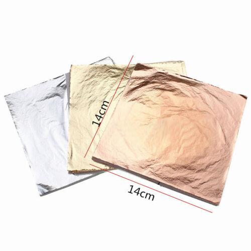 100 sheets Imitation Gold Silver Copper Leaf Foil Paper Gilding Art Craft gfr