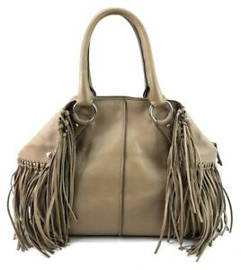 Tods-Grey-Leather-Fringe-Purse-Tassel-Cape-Hand-Bag-Made-In-Italy