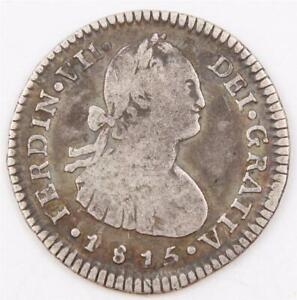 1815 Chile 1 Real silver coin Santiago-FJ KM-65 circulated