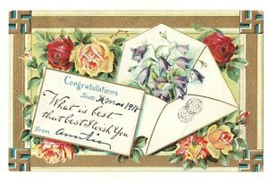 Congratulations-Postcard-2079-Posted-1918-Printed-in-Germany-Roses-Envelope