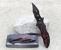 Black Red Batman Dark Knight Spring Assisted Pocket Knife Fast Easy Opening