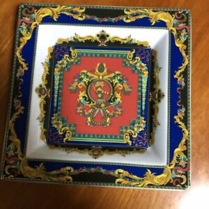 Authentic-Versace-Versace-Rosenthal-Square-Plate-22-22cm-Interior-Figurine