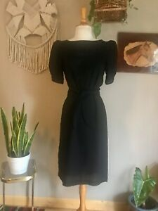 80s-women-s-Vintage-black-cocktail-dress-with-puff-sleeves-Pacino-CA-label-small