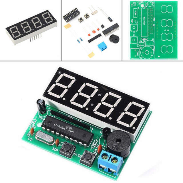 1Set DIY Kit C51 4 Bits LED Digital Disply Electronic Clock Production Suite