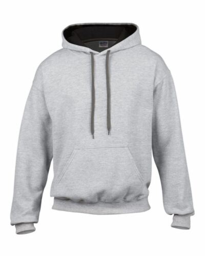 s m l xl 2xl Gildan Heavy Blend plain Adult Contrast Hooded Sweatshirt top