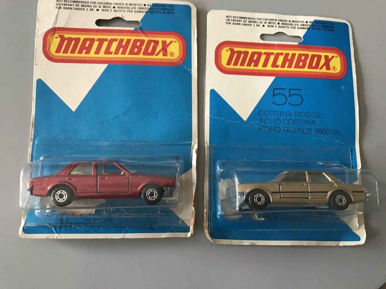 2 X RARE MATCHBOX LESNEY SUPERFAST NO 55 FORD CORTINA IN BLISTER PACK 1979 ENG