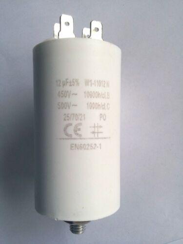 Motor//Betriebskondensator 12 µF //450 Volt mit Steckkontakten,TOP,NEU