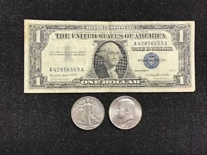 1-00-1957-Silver-Certificate-Walking-Liberty-Half-and-Kennedy-Half-90-SILVER