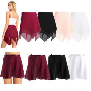 Adult Women Girls Chiffon Ballet Leotard Tutu Wrap Scarf Skirt Mini Dance Dress