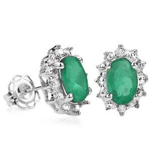 Ohrringe-Ohrstecker-Joline-925er-Silber-0-94-Kt-echter-Smaragd-Diamant