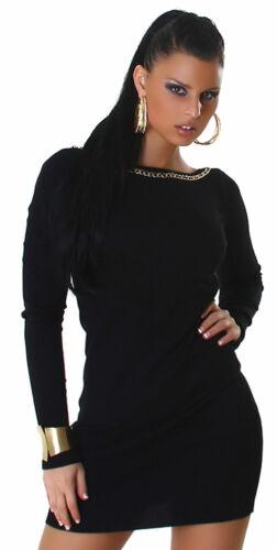 Strickkleid /& Pullover mit Zierkette Sweater Kleid Einheitsgröße 34 36 38 40 neu