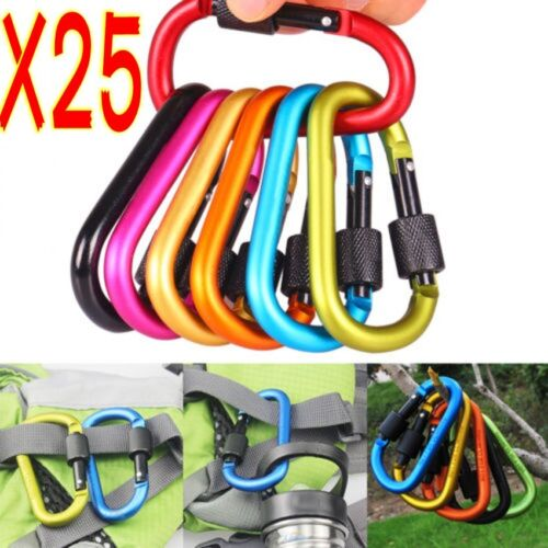 25Pcs Aluminum Snap Hook Carabiner D-Ring Key Chain Clip Keychain Hiking Camp