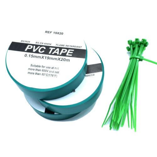 3 x vert électrique PVC Isolation Ruban 19 Mm Large x 20 m Long /& Câble libre des liens