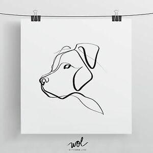 Details About Pit Bull Art Print One Line Drawing Minimal Abstract Art Custom Dog Portrait
