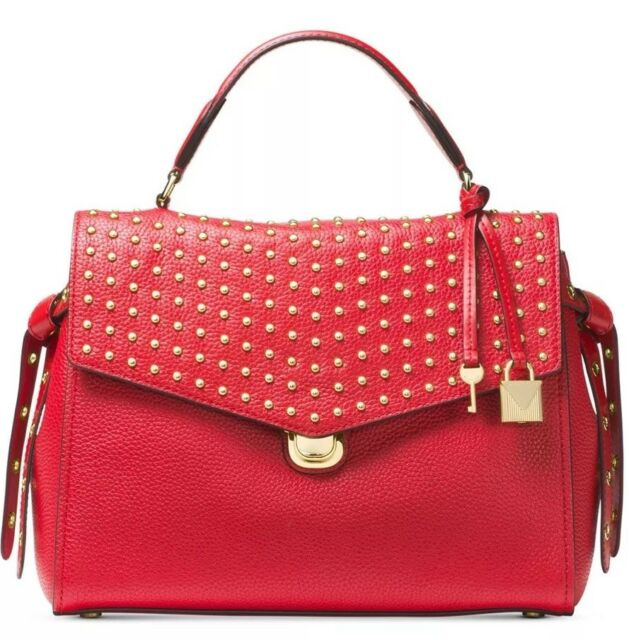 216cd8921fd7 New Michael Kors Bristol Medium top handle satchel bag Red push lock leather