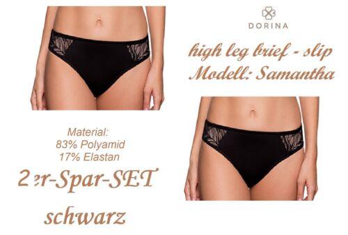 DORINA 64029 Samantha high leg brief Slip schwarz+weiß Spitze 2er+3er-Sparset