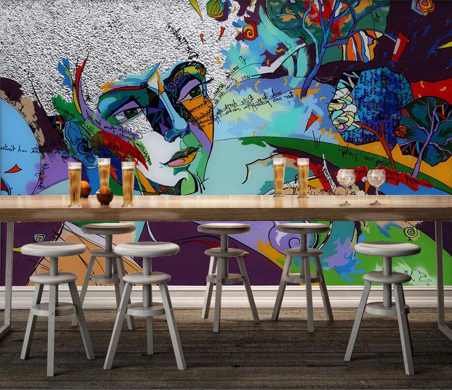 3D Farbeful Woman 028 WallPaper Murals Wall Print Decal Wall Deco AJ WALLPAPER