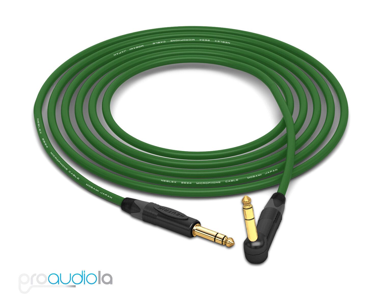 Mogami 2534 Quad Cable   Neutrik guld 1 4  TRS to 90º TRS   grön 25 Feet 25 ft.