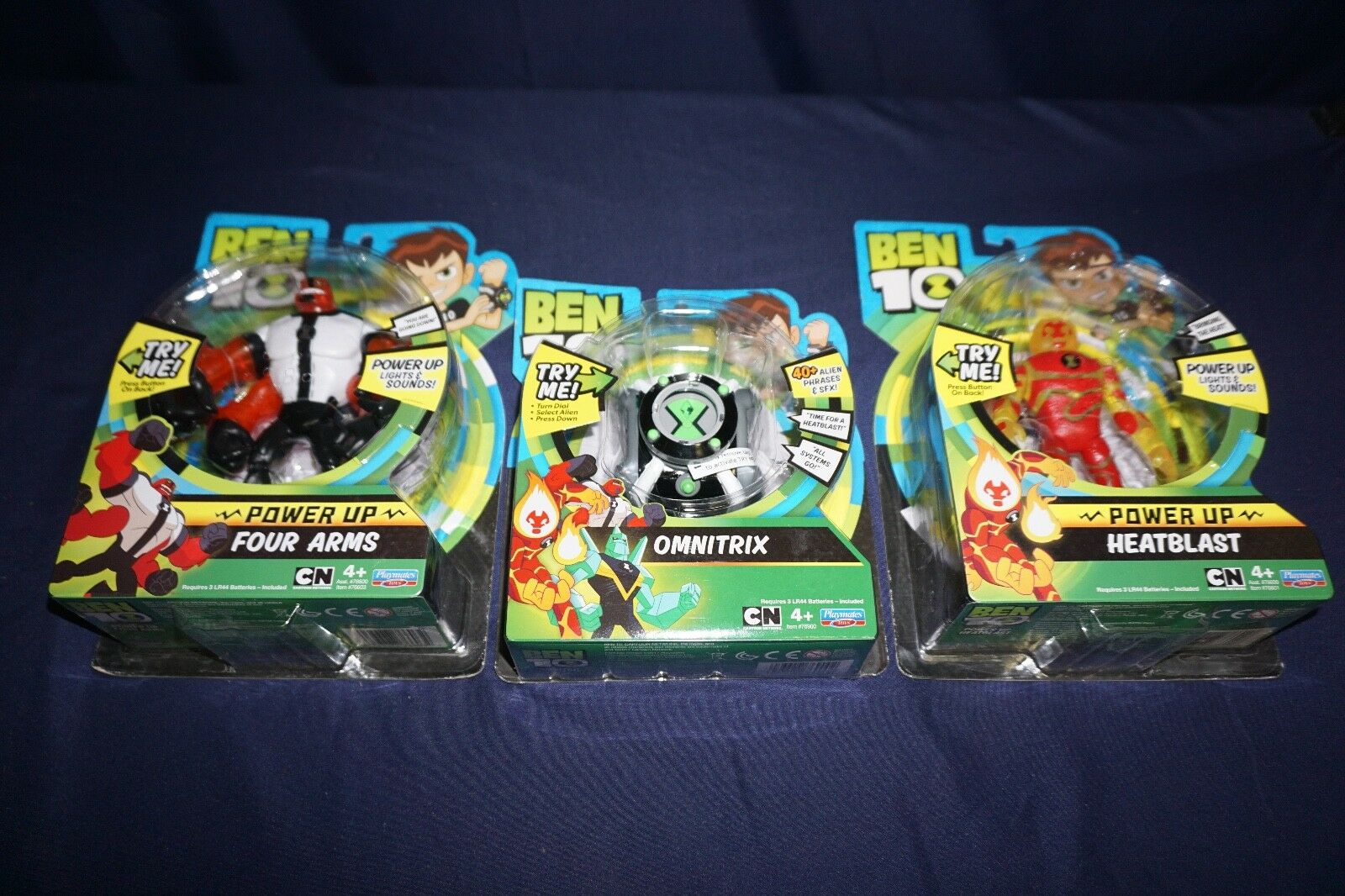 BEN 10 POWER UP FOUR ARMS HEATBLAST OMNITRIX PLAYMATES 2017 ACTON FIGURES