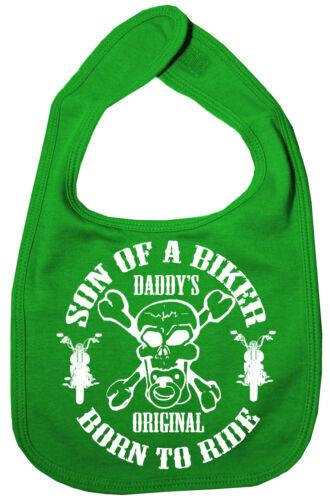 """Baby Boy Bib /""""Son Of A Biker Born To Ride/"""" feeding Anarchy Motorbike Skull Sons"""