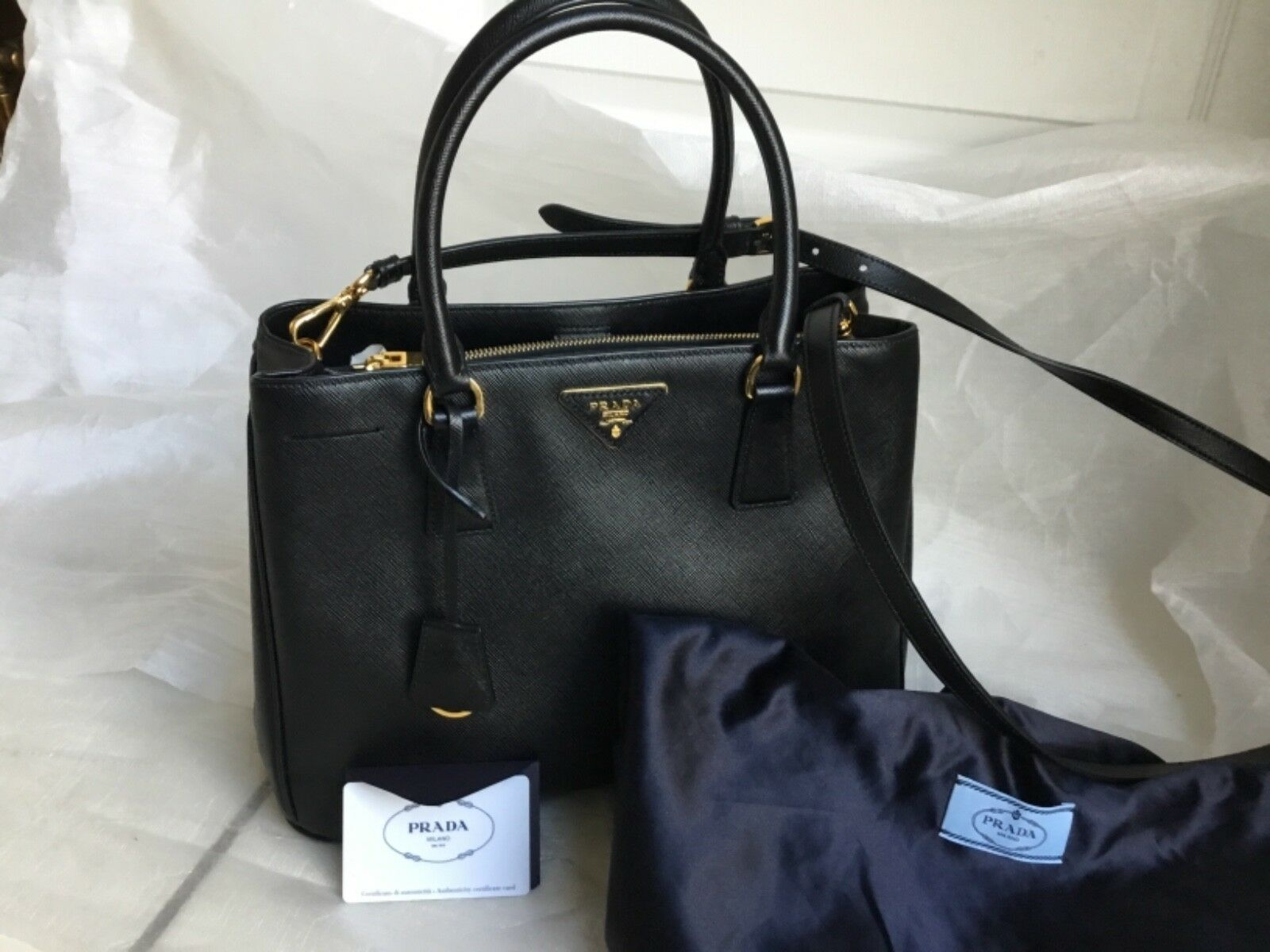 PRADA Lux Saffiano Leather Tote - Black for sale online  8bd6a6794a885