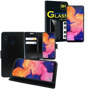 """Etui Housse Coque Portefeuille Cuir Samsung Galaxy A10E 5.83"""" avec Verre Trempé"""