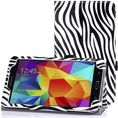 """Zebra Print Pattern Leather Stand Case for Samsung Galaxy Tab 4 8.0 8"""" T330 T331"""