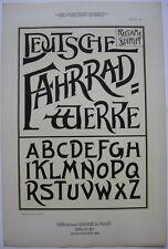 Deutsche Fahrradwerke Reklame Orig Lithografie FR. Ad. Becker Jugendstil 1900