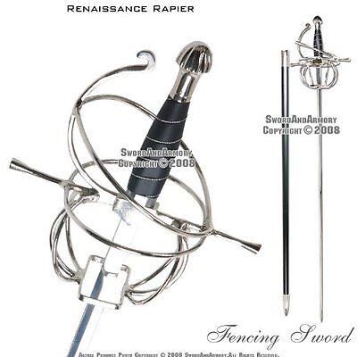 Ace Martial Arts Supply Renaissance Rapier Fencing Sword with Swept Hilt G...NEW