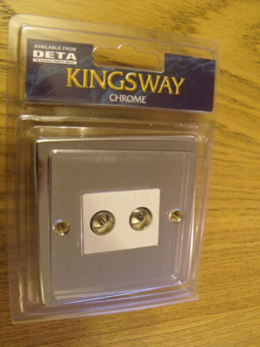 Kingsway K1841W Polished Chrome twin co-axial isolated socket white insert