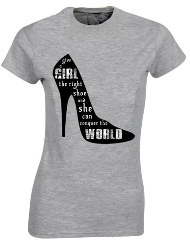 Give A Girl the Right Shoe She Can Conquer World Marilyn Tshirt top Tee AB97
