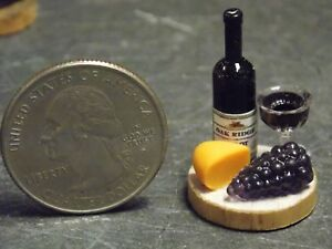 Dollhouse-Miniature-Wine-Cheese-Fruit-Tray-B-1-12-Inch-scale-F59-Dollys-Gallery