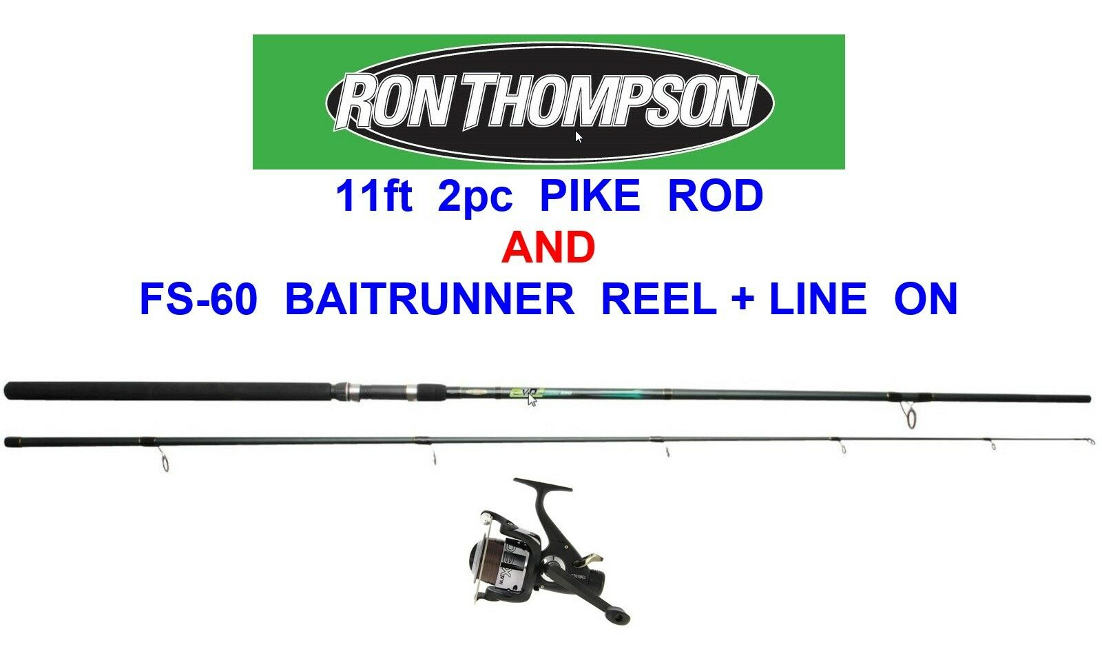 RON THOMPSON 11ft 2pc PIKE ROD & FS-60 BAITFEEDER REEL COARSE FISHING SPINNING