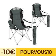 2x Chaise de camping avec housse pliante fauteuil de camping pliable siege plage
