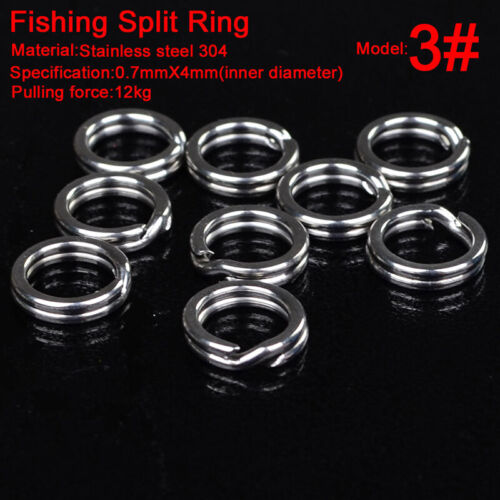 100pcs//Set 3#-8# Fishing Split Rings Double-Loop SS Lures Tackle Connectors Tool