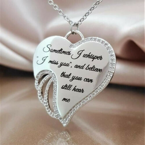 """/""""I Miss You/"""" CZ Silver Plated Angel/'s Wings Women Pendant Necklace Jewelry Gifts"""