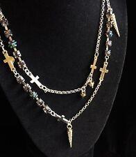 Eternity Cross Necklace Steve Madden Rhinestone Silver Gold Tones