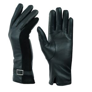 Ladies-Women-Soft-Genuine-Leather-Thermal-Fleece-Lined-Driving-Buckle-Gloves-UK