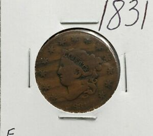 1831 Coronet Liberty Head US Large Cent 1c Choice VG / Fine Circulated Condition
