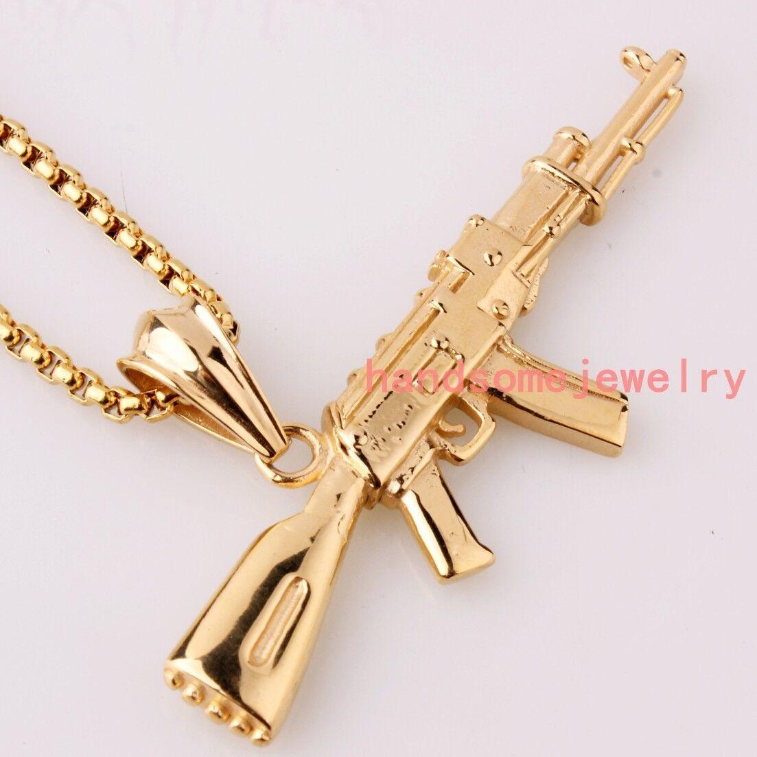 Fashion Stainless Steel Ak 47 Gun 18k Gold Men Women