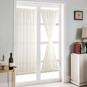 French Door Curtains Blackout Patio Door Glass Curtain Panel White