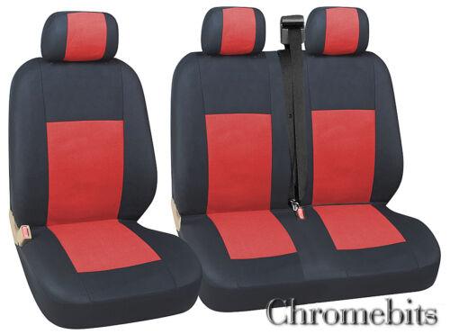Rojo Negro Tela Fundas de Asiento 2+1 para Ford Transit Transit Custom Furgoneta