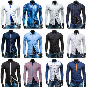 BOLF-Herren-Herrenhemd-Hemd-Freizeithemd-Men-Classic-Slim-Shirt-Mix-2B2-Casual