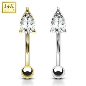 bc0bc5aed9 14K Solid GOLD TearDrop Gem CURVED BENT Eyebrow Ear Daith Rook ...