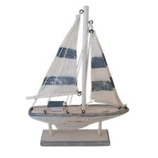 Seaside Nautical Theme White & Blue Sailing Boat 22cm  Ornament