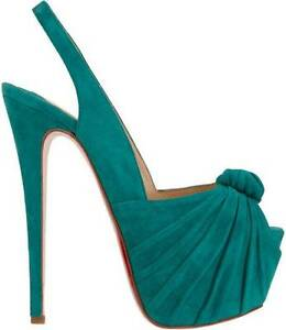 Details About Christian Louboutin Miss Benin Suede Knot Platform Slingback Heels Shoes 1145