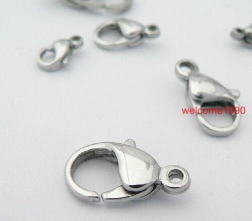 Lot 100pcs in bulk Stainless Steel Silver Lobster Hook Clasps Jewelry Finding
