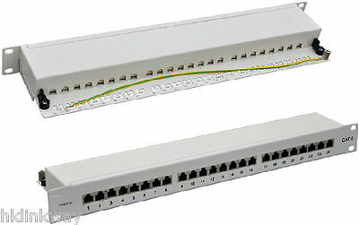 "LINKWAY 19/"" 24ports Cat.6 full shielded patch panel white grey color Brandnew!"