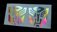 50mm (5cm) x2 Transformers Autobots Silver Hologram Chrome Stickers Decals