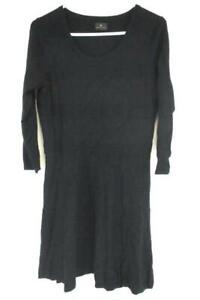 Worthington-Black-Knit-3-4-Sleeve-Sweater-Dress-A-Line-Flare-Women-039-s-Size-L